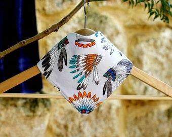 """Indian Print, baby Bib, bandana bib, baby boy bib, baby bandana, baby clothes, bandana baby, kids clothes, baby boys clothing - """"Geronimo"""""""