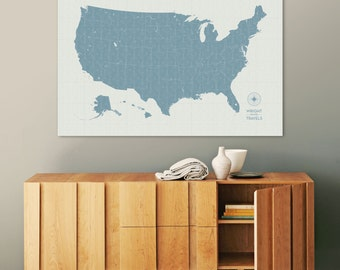 Push Pin Travel Map, US Map, Pin Map, Push Pin Map, USA Map, Map of USA, Map of Us, Canvas Map, Custom Travel Map, Our Travels, Vintage Map