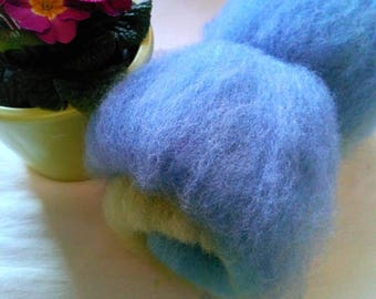 Colourful batt made of 100% of Suffolkschaf wool from the spinning or felting in 50g batts
