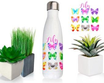 Water bottle, butterflies, customized water bottle, custom water bottle, personalized bottle, rainbow colours, watercolour butterfly, 16