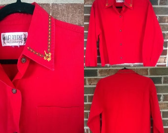 90s Red Crop Button Up Embroidered Blouse, M/L