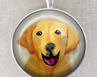 Yellow Lab Keychain ~ Gifts for Him ~ Original Art Mini Painting ~  April Birthday  ~ Dog Keychain