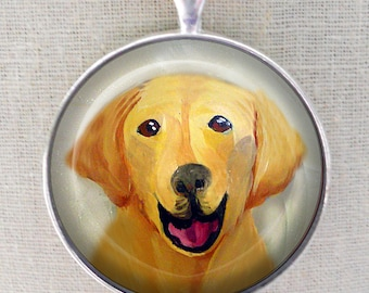 Yellow Lab Keychain ~ Gifts for Him ~ Original Art Mini Painting ~  May Birthday  ~ Dog Keychain