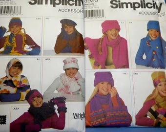 Simplicity 5766 and 5920 Sewing Patterns, Girls and Womens Hats, Scarves