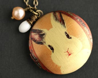 White Rabbit Locket Necklace. Bunny Necklace. Bunny Rabbit Necklace with White Coral Teardrop and Fresh Water Pearl. Handmade Jewelry.