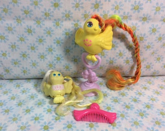 1980s Fairy Tails Bird Tulip and Baby Tiddly Winks + Comb and Stand Hasbro