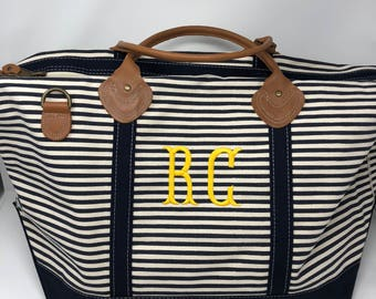Monogrammed Canvas Weekender- Navy Stripes