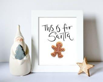 Santa sign - Cookies for Santa sign -  Santa PRINTABLE - Christmas decoration - Christmas decor - Holiday decor - Holiday decoration