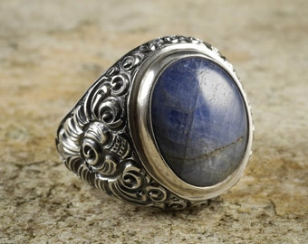 Size 9.25 Blue SAPPHIRE Ring - Sterling Silver Bezel Ring Handmade Jewelry - Natural Sapphire Stone Cabochon - Sapphire Jewelry J956