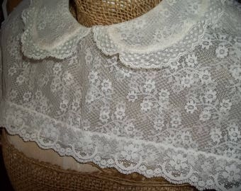 Vintage Attachable Lace Collar with front and back bodice attachment