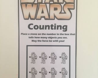 Star Wars Counting Game, learning numbers, number recognition, preschool counting, educational toy, busy bag