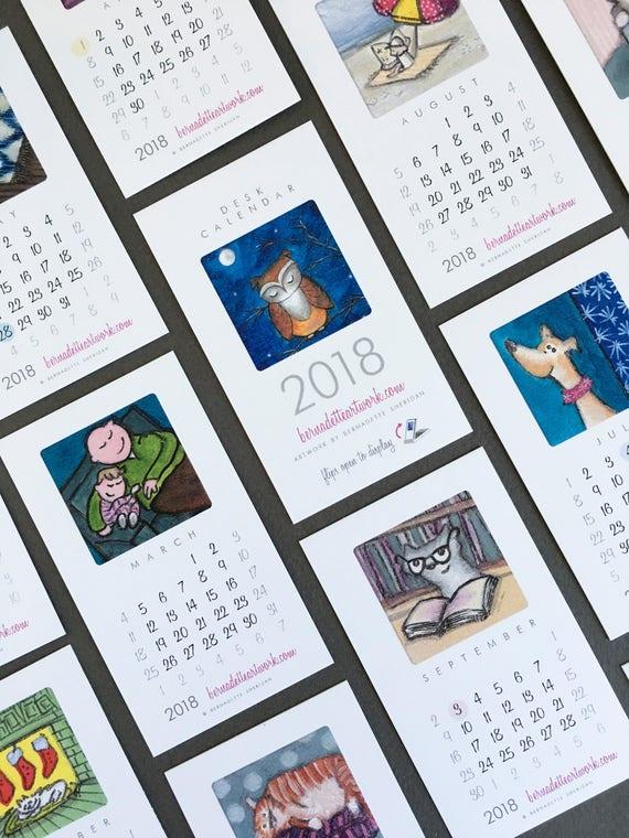 SALE! 2018 mini desk calendar, small desk calendar with stand, mini calendar, 2018 desk calendar, coworker gift, new job gift
