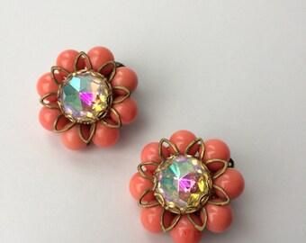 Vintage coral aurora earrings