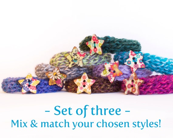 SET OF THREE - Stackable Button Bangles - Knitted Bangles Textile Bracelets Set - Stackable Bracelets for Friendship Gifts Mix and Match