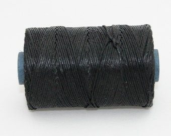 Waxed Irish Linen Thread Black 7 Ply Waxed Thread