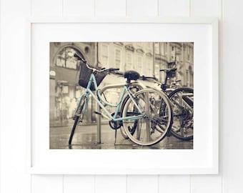 Bicycle wall art, cyclist gift ideas, gift for her, bicycle gift ideas, bicycle lovers gift, bicycle print decor, blue bike wall art decor