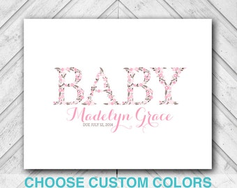 baby shower guest book alternative canvas - pink and brown girl baby shower decorations - baby shower keepsake, floral whimsical rustic
