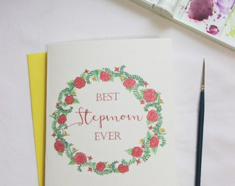 Brittany note card etsy stepmom birthday card best stepmom ever floral birthday card watercolor note card bookmarktalkfo Image collections