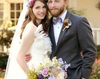 A Custom Ivory Pink Purple Violet Garden Bridal Bouquet