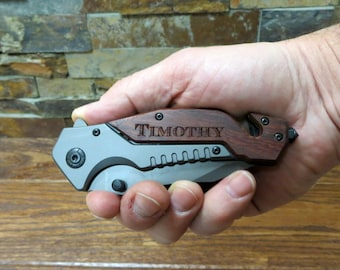 Personalized Survival Pocket Knife - Glass Breaker - Gifts for Men - Father of the Bride - Groom - Best Man - Birthday - Christmas - Wedding