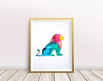 LION Print,lion painting,watercolor lion,nursery decor,lion poster,Nursery Art,lion art print,wild animal,lion portrait,instant download