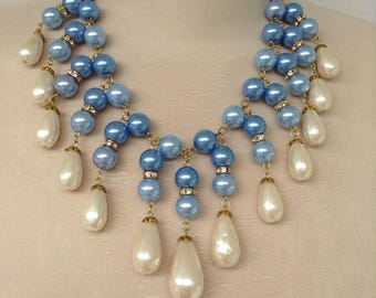 Baby blue and pearl collar necklace