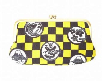 Japanese pattern, Mt.fuji, metal frame purse, kiss lock purse