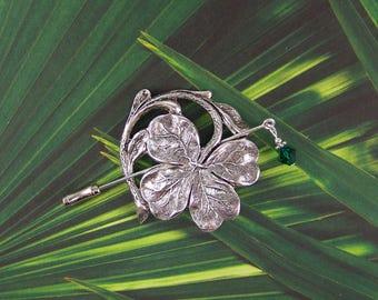 Shamrock Shawl Pin, Clover Pin, Irish Pin, Sweater Pin, Scarf Pin, Shamrock, Swarovski Stick Pin, Shawl Pin, Four Leaf Clover, Boutonniere
