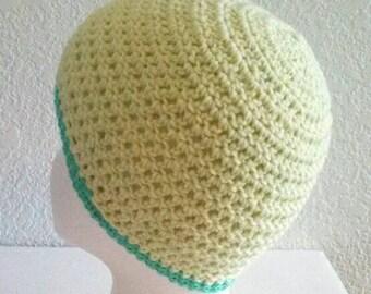 Woman's Crochet Green Light Green Hat