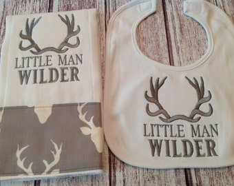 Embroidered Deer Antlers Baby Burp Cloth and Bib Set