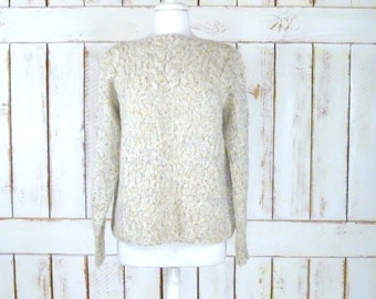 Vintage oatmeal ivory/tan chunky knit pullover sweater/woven cable knit boyfriend sweater/cabin sweater