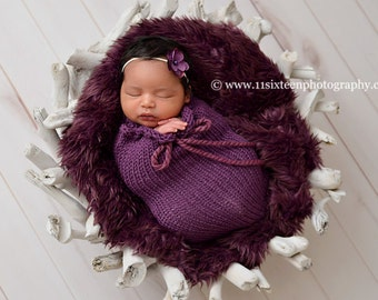 Eggplant Purple Swaddle Sack Newborn Baby Photography Prop