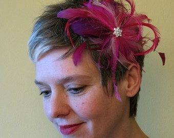 Varigated bridal pink feather fascinator - wedding feather hair clip