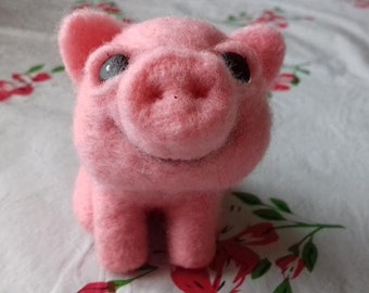Handmade Wool Toy Magnificent Funny Pig Needle Felted