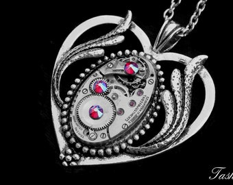 Steampunk Jewelry Heart Necklace, Victorian Art Deco Long Silver Pendant, Swarovski Crystal Jewelry