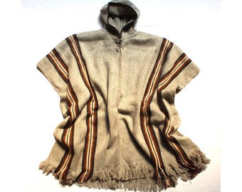 SALE 15% OFF* Men's Alpaca Llama Wool Hooded Poncho Light and Warm in Natural Colors with Ethnic Andean Designs