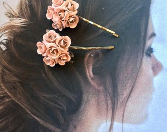 Pink Enamel Floral Rose Hair Pins Jewelry 1940 1950 Vintage Bridal RARE Rhinestone Decorative Hairpins Bobby Pins Woodland