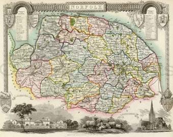 Norfolk map Etsy