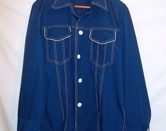 Sears 70s Vintage Mens Navy Blue Shirt Jacket Button Front White Piping Trim Perma Prest M