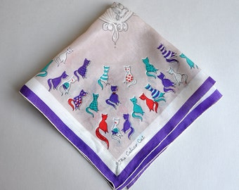 Cats and Birdcage Silk Hanky - The Calico Cat