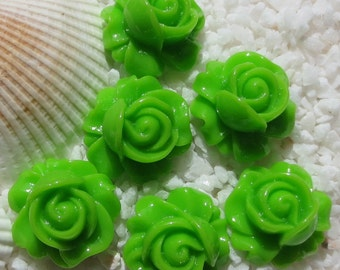 Resin Rose Swirl Cabochon - 16mm - 12 pcs - Green
