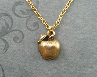 Apple Necklace SMALL Apple Jewelry Fruit Necklace Bridesmaid Necklace Back to School Necklace School Gift Teacher Gift Teacher Necklace