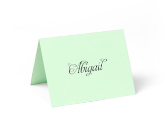 Place Cards, Mint Green with Custom Printing // set of 8