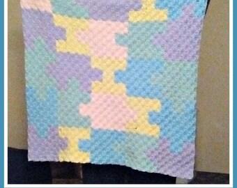 Puzzle Pieces Baby Afghan, C2C Graph, Crochet Pattern