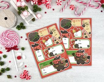 Kawaii Krampus Nugget Naughty List Christmas Gift Tags Sticker Sheets