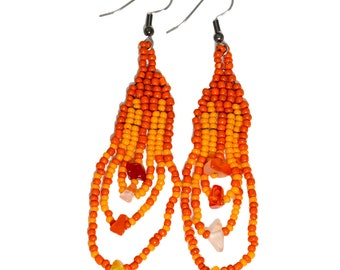Bohemian Hippie Earrings in Orange Native American Style Dangle Beaded Jewelry Boho Statement Loop Ethnic Gypsy Indian Everyday Festival