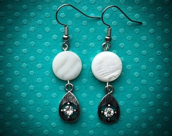 Mother of Pearl and Glass Sparkle Earrings