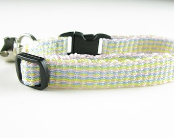 Hand Woven Cat Collar Pastel Stripe Breakaway Kitty Collar Kitten Collar