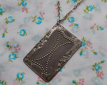 Antique Silver Plated Large Playing Card Rectangle Charm Pendant Necklace