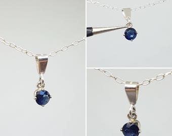Genuine Blue Sapphire Solitaire Pendant 0.22ct in 925 Sterling Silver